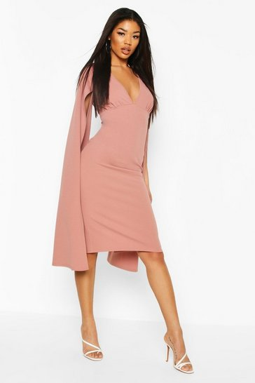 Mauve Cape Sleeve Open Back Midi Dress