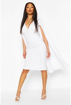 White Cape Sleeve Open Back Midi Dress