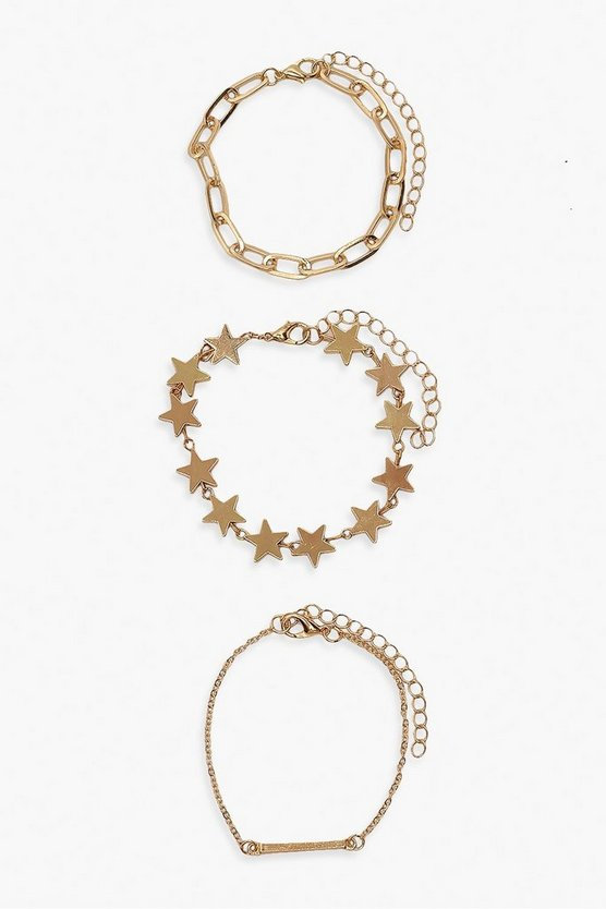 Gold Star & Chain Bracelet 3 Pack