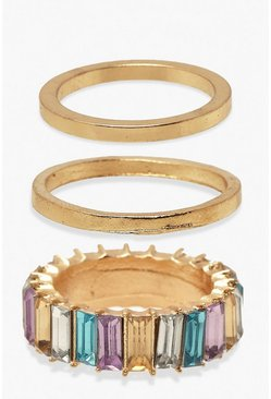Multi Coloured Gem & Simple Stacker 3 Ring Pack