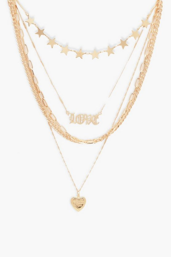Gold Star & Locket Chain Layered Necklace