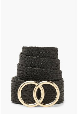 Black Woven Double Ring Buckle Belt
