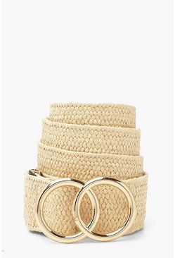 Natural Woven Double Ring Buckle Belt