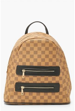 Brown Large Check Double Zip Rucksack