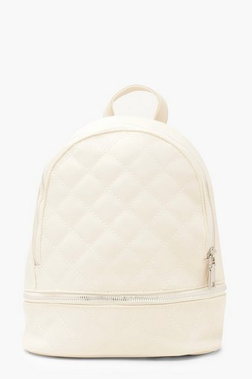 Ivory Quilted Zip Around Rucksack