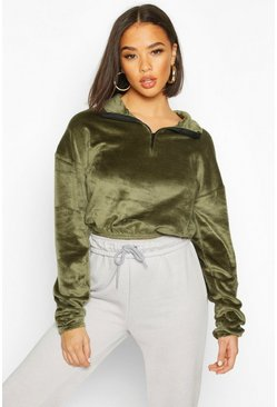 Khaki Velour Effect Zip Up Sweat Top