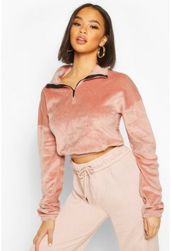 Rose Velour Effect Zip Up Sweat Top