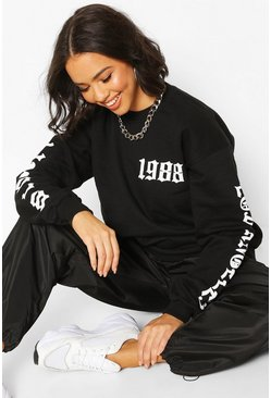 Black Oversized Gothic Reflective Print Los Angeles Sweat