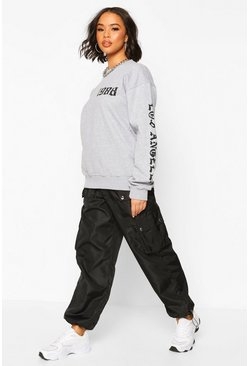 Grey Oversized Gothic Reflective Print Los Angeles Sweat