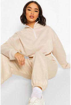 Contrast Half Zip Sweater, Sand