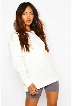 Oversized Sports Fleece Sweater, Ecru
