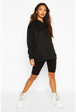 Black Oversized Sports Fleece Hoodie