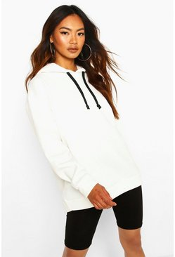 Oversized Sports Fleece Hoodie, Ecru
