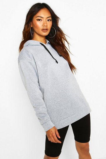 Grey Oversized Sports Fleece Hoodie