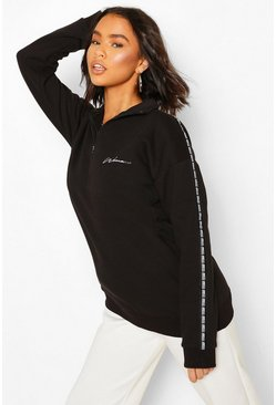 Woman Taped Funnel Neck Half Zip Oversized Sweater, Black