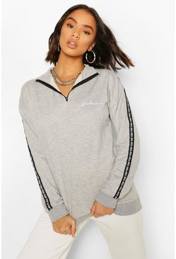 Grey Woman Taped Funnel Neck Half Zip Oversized Sweater