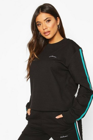 Black Woman Taped Oversized Sweater