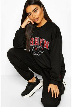 Brooklyn NYC Oversized Sweater Tracksuit, Black