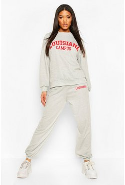 Grey Louisiana Campus Oversized Sweater Tracksuit