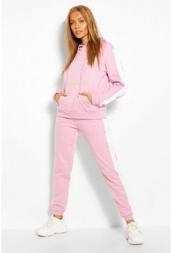 Dusky pink Contrast Panel Tracksuit with Woman Embroidery