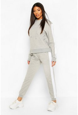 Contrast Panel Tracksuit with Woman Embroidery, Grey