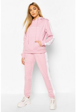 Violet Contrast Panel Tracksuit with Woman Embroidery