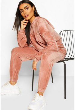 Velour Effect Joggers, Rose