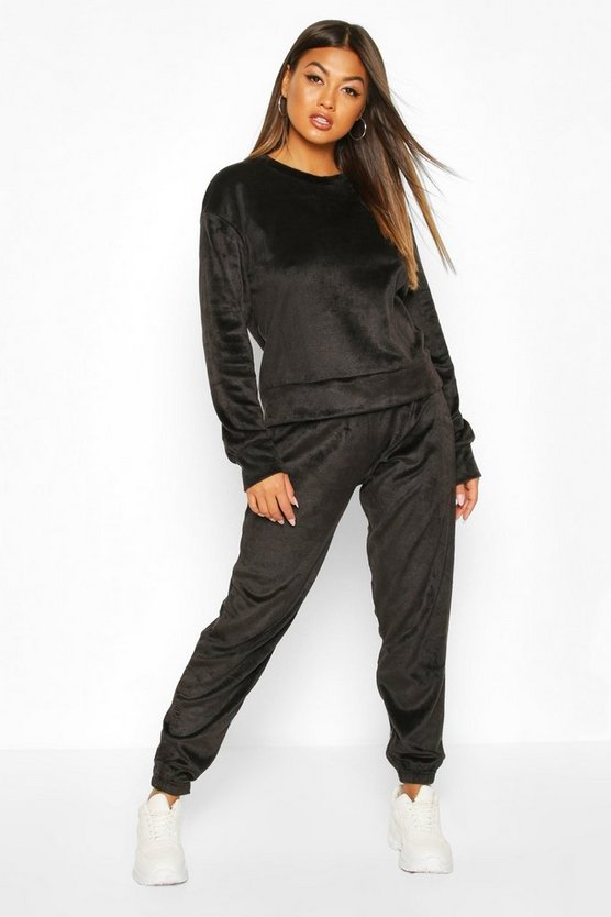 Black Velour Sweat & Jogger Set