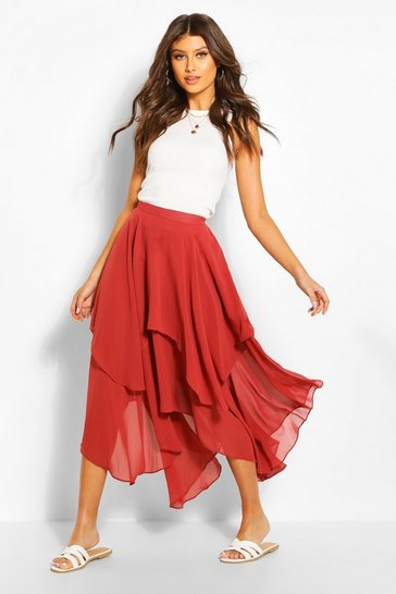 Paprika Layered Bohemian Maxi Skirt