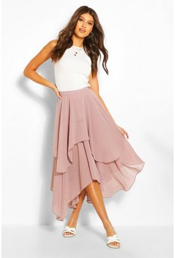 Taupe Layered Bohemian Maxi Skirt