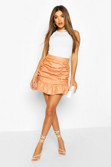 Peach Ruched Front Leather Look Mini Skirt