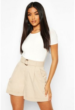 Sand Belted Turn Up D Ring Utility Shorts