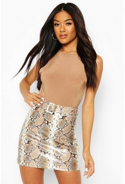 Stone Faux Snake Skin Leather Look Mini Skirt
