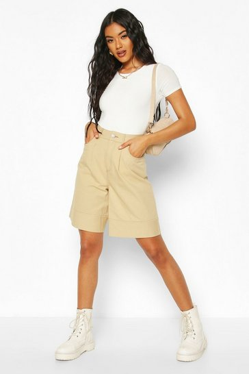 Cream Twill Contrast Stitch Turn Up City Shorts