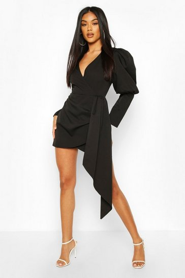 Black Volume Sleeve Wrap Front Playsuit