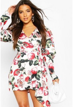 Ivory Volume Sleeve Wrap Front Floral Playsuit