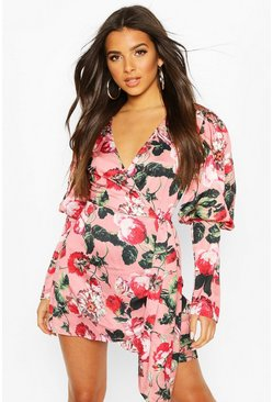 Rose Volume Sleeve Wrap Front Floral Playsuit