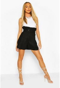 Black Linen Look Self Fabric Belted City Shorts
