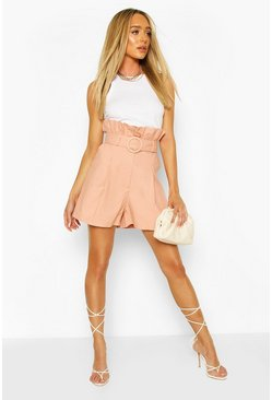 Peach Linen Look Self Fabric Belted City Shorts