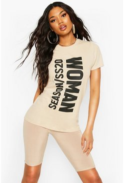 Stone Woman Slogan Oversized T-Shirt