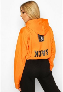 Orange Back Print Slogan Crop Hoodie