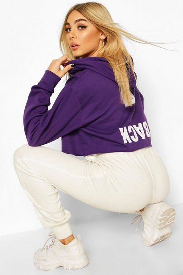 Purple Back Print Slogan Crop Hoodie