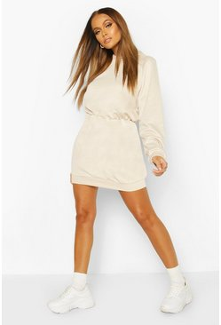 Stone Slouchy Oversized Hooded Sweat Dress