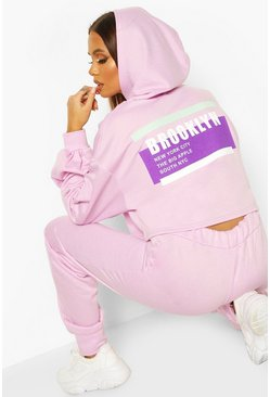 Lilac Brooklyn Oversized Balloon Sleeve Crop Hoodie
