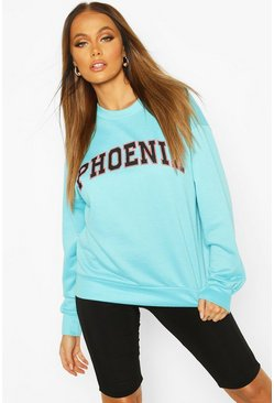 Blue Phoenix Oversized Slogan Sweat