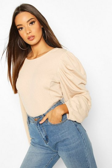 Ecru Textured Puff Sleeve Top
