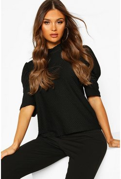 Black Textured High Neck Puff Sleeve Top