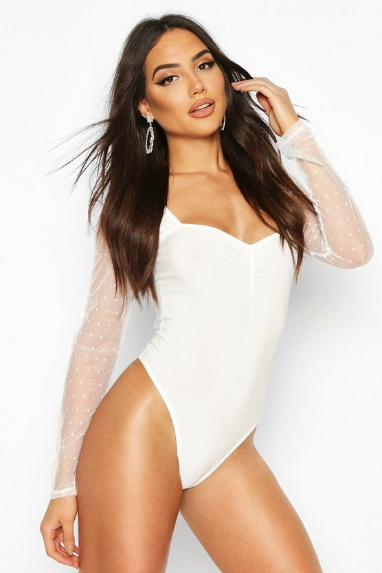 Ivory Dobby Mesh Long Sleeve Bodysuit