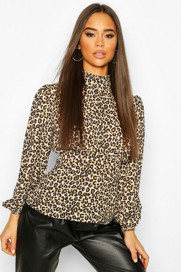 Natural Woven Leopard High Neck Peplum Tops
