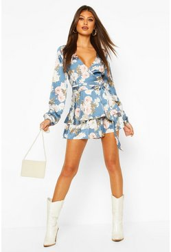 Petrol Balloon Sleeve Double Layer Floral Playsuit
